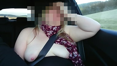 tits out in car