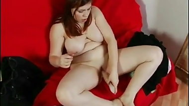 Nympho Chubby Teen playing with her big dildo