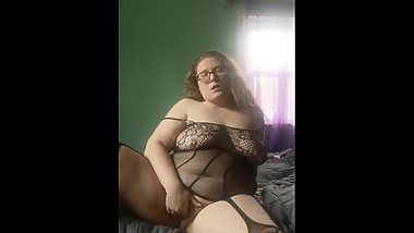 BBW Plays with Dildo in Lace Lingerie