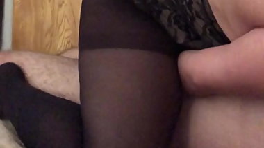Wife rides cock in stockings and corset
