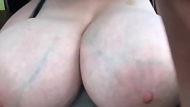 Veiny Huge Natural Tits Boobs tease in a car