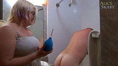 TRAILER: Femdom Gives Anal Douche Until Asshole Prolapse
