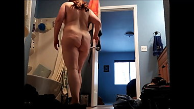 Chubby booty girl gets in shower part 1 of 2