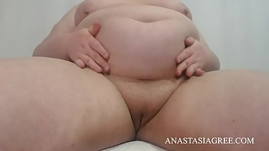 Plump pussy tease and big belly