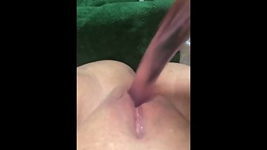 Creamy, Gushing, Vocal Orgasm with Glass Dildo