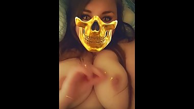 Bbw plays with her tits on Snapchat