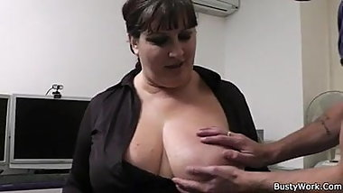 Big tits secretary in pantyhose rides boss's cock