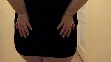 Sexy , curvy BBW hot wife in a lil black dress