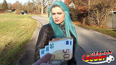 GERMAN SCOUT - GREEN HAIR TEEN TALK TO FUCK AT REAL PICK UP