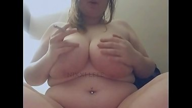 Chubby slut smokes a j topless (FULL VIDEO ON ONLYFANS)