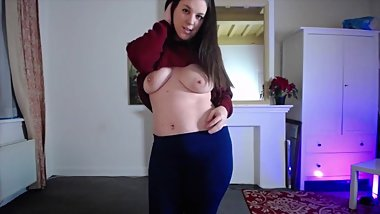 Leggings and sweater fingering orgasm