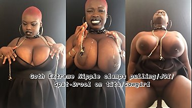 Goth Spit JOI , Nipple clamps, front riding