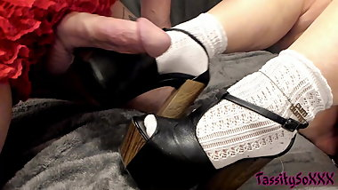 Cumshot on Retro Platform Heels and Socks