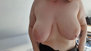 18yo GERMAN BBW Teen Girl huge saggy Tits Masturbates Pussy