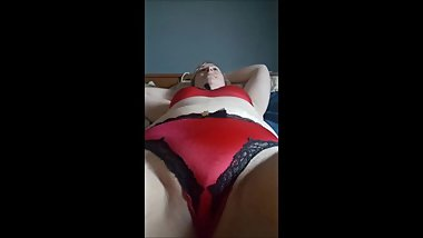 Marigold in her Red Bra & Panty Set with Corset & Stockings