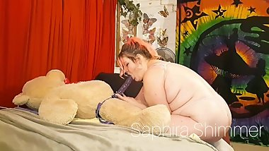 BBW MILF turns teddy bear into fuck toy