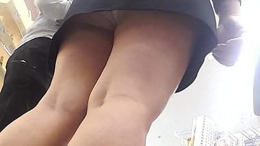 Upskirt sexy big white ass, panties between cheeks