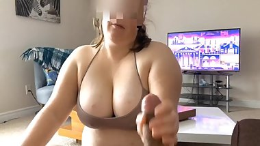 Big Tit Bbw Gf gives me a handjob
