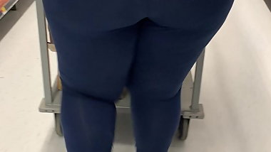 Wally World BBW Worker Blue See thru Tights Thong Booty