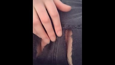 Hairy bbw masturbating  with vibrator through torn jeans til loud orgasm