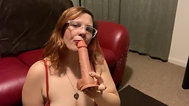 Thick BBW stoner redhead sucks and gags on her dildo