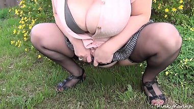 Karina the toilet slut Pees in the Grass
