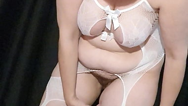 Chubby wife white outfit