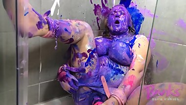 BBW in bondage covered in paint and orgasming with wand
