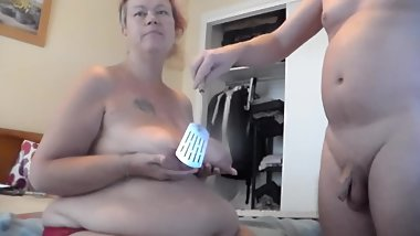 John is Spanking Jens Tits with Kitchen Tool