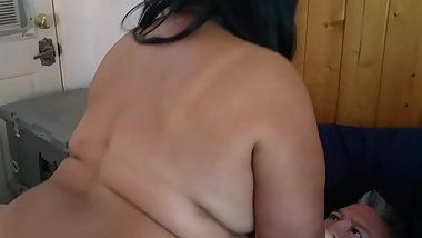 My Black BBW GF Rides My Buddy For The First Time
