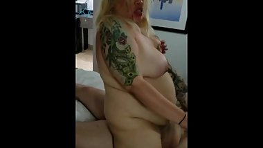 Riding dick while husband films