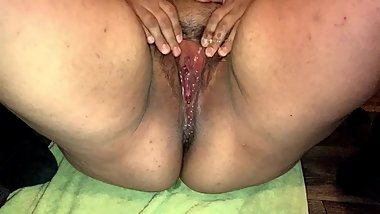 Cum inside ssbbw then she masturbates until pussy gushes and squirts
